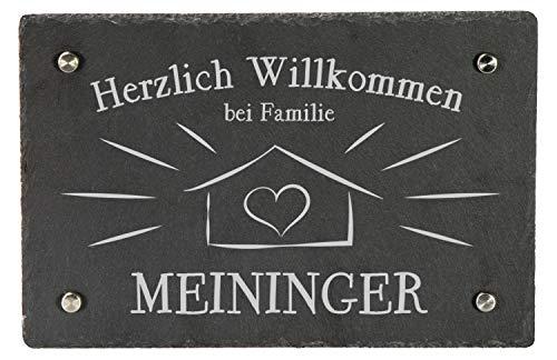 LAUBLUST Schiefer Türschild personalisiert mit Sweet Home Gravur - 30x20cm, Anthrazit - Schiefertafel + 4 Wandabstandshalter aus Edelstahl als Namensschild | Haustür-Schild | Geschenkidee zum Einzug