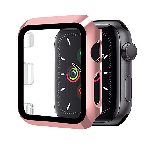 Funda Compatible con Apple Watch 42mm Serie 3/2/1+Cristal Templado, Qianyou PC Case y Vidrio Protector Pantalla Integrados, Anti-Rasguños Slim Bumper Case Cover para iWatch 42mm 1/2/3 (Rosa)