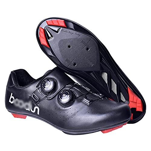 JYSSH Zapatillas de Ciclismo para Carretera, Zapato con candado de Piel Reflectante y Sistema rotativo de precisión,Calzado de Ciclismo y Senderismo con AmortiguacióN Antideslizante,Black-43
