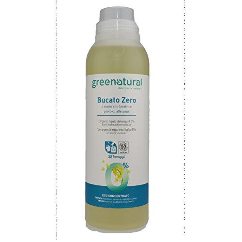 GREEN NATURAL SAPONE LIQUIDO bucato zero 1 litro a mano lavatrice privo allergeni senza profumi e colorati