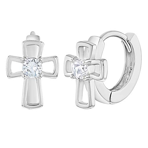 925 Sterling Silver Clear Cubic Zirconia Open Cross Huggie Hoop Earrings For Little Girls & Young Teens 11mm - Adorable Religious Gift Perfect For Christening & Baptism