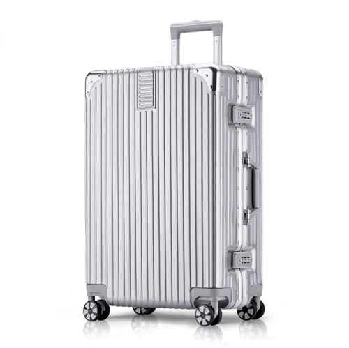 Struttura in alluminio per bagagli, custodia rigida in ABS per trasporto bagagli, per studenti e viaggi, con 4 ruote universali e serratura a quadrante (nero, 20 pollici), Argento, 20寸,