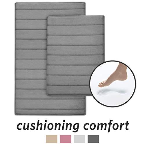MICRODRY Ultra Absorbent CoreTex Memory Foam Bath Mat with GripTex Skid-Resistant Base (2-Piece Set, Charcoal)
