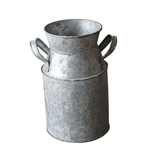 Yardwe Vintage Blumentopf Eisen Blumenvase Rustikale Shabby Chic Deko Milchkanne Landhausstil Vase Dekovase Übertopf mit Griff für Blumensträuße Neujahr Party Tischdeko Gartendeko Silber