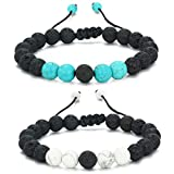 MengPa Mens Lava Rock Bracelet for Women Aromatherapy Anxiety Essential Oil Volcanic Stone Bead Bangle (Rope-Blue&White Howlite US034AB)