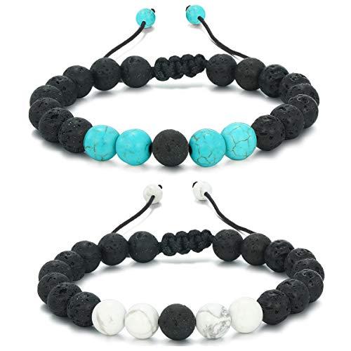 MengPa Beads Bracelets Mens Lava Rock Stone Beaded Anxiety Essential Oil Volcanic Bracelet Set Howlite-Blue/White US034AB