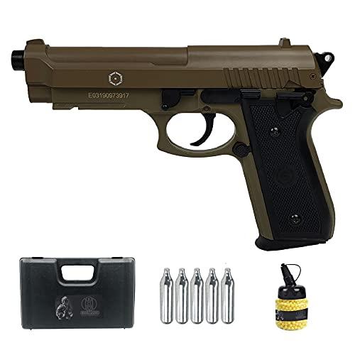 PT92 Tan Full Metal   Pistola de Airsoft (Bolas de 6MM) y CO2. Semiautomática. Tipo Taurus. Color Arena.
