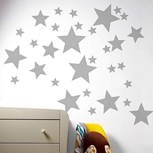 Estrellas Pared Etiqueta, 55pcs/Set Ventana de Vidrio Twinkle Star Sticker, Vinilo Metálico PVC Art Star Patrón de Calcomanías, para Bebés Niños Dormitorio Decoración de la Guardería