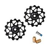 MOPOIN Puleggia deragliatore, 1 paio deragliatore bicicletta in lega di alluminio guida per bicicletta puleggia 15T puleggia posteriore per mountain bike da strada, nero