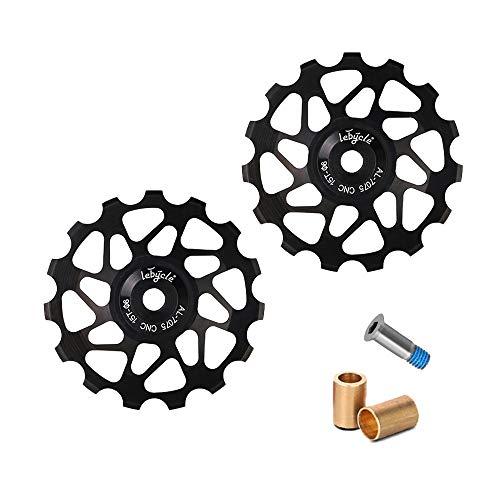 MOPOIN Desviador de polea, 1 par de desviador de bicicleta Polea guía de bicicleta de aleación de aluminio Polea trasera 15T para bicicleta de montaña de carretera, Negro