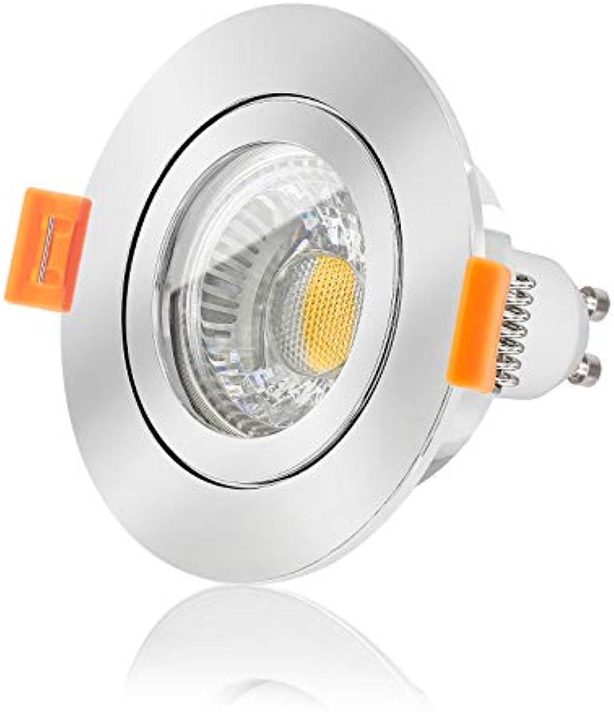 Ledox Led Bad Einbauleuchte Set Ip44 dimmbar inkl. Forma Einbaurahmen chrom 230V 6W Gu10 4000k neutral-wei Bad-einbau-leuchte-lampe-spot-strahler-auen-garten-beleuchtung Ra 90 (3er Set)