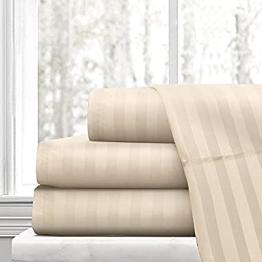 Beckham Hotel Collection Luxury Soft Brushed Microfiber 4-Piece Striped Sheet Set - Hypoallergenic & Stain Resistant with Embossed Stripes - Queen - Cream