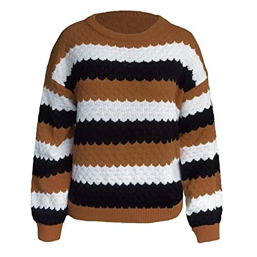 NHNKB Jersey de punto para mujer a rayas, suéter con cuello en V, manga larga, camisa, camiseta de punto, caqui, S