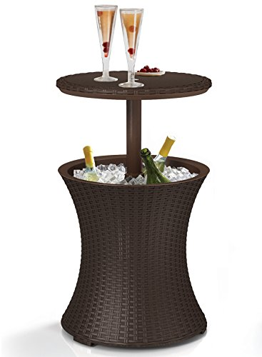 Keter Rattan Cool Bar Outdoor Party Table Drinks Holder/Storage -Brown