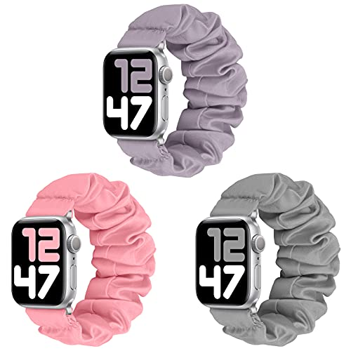 JIELIELE 3 Packs Compatible with Scrunchie Apple Watch Band 42mm 44mm for Women, Cute Stretchy Elastic Wristbands Straps Watch Band for iWatch Series 6 5 4 3 2 1 SE (M-42/44 SET3)