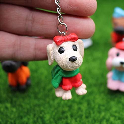 HZOLJVN Nette Welpen Hund Schlüsselanhänger Damen Tasche Schlüsselring Haustiere Tierschmuck Für Frauen Mädchen Handtasche Auto Grüner Schal Hund