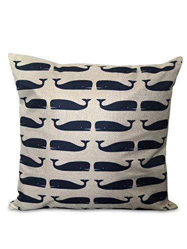 Funda de cojín con diseño náutico de ballena azul marino