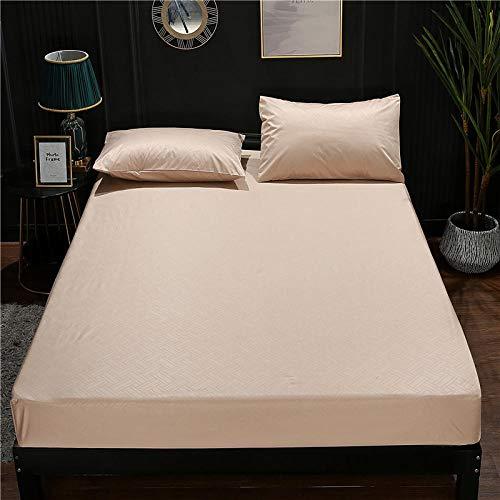 JKCTOPHOME Suave y Transpirable Sábana Ajustable,Protector de colchón de sábana Impermeable de Color sólido Simple para el hogar-B_200 * 220 * 30cm,Sábana bajeras Ajustable Antiarrugas