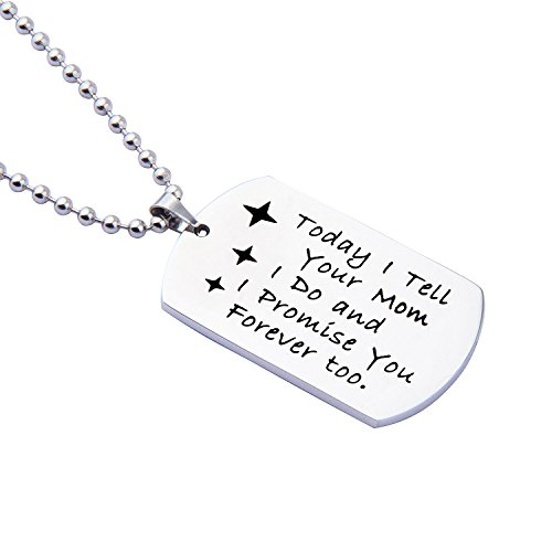 ENSIANTH Gift for Stepson Step Daughter Today I tell your Dad I do and I promise you Forever too Necklace,Wedding Gift Blended Family Gift (Mom necklace)