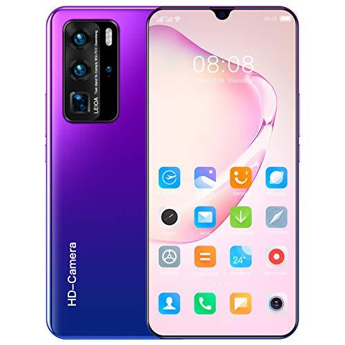 Telefonos Moviles Baratos 5G, Smartphone Libre Android 10.0, 12GB RAM + 512GB ROM, 7' HD IPS Screen, Dual SIM Gratis, Cámara Trasera Triple, Face ID, GPS, Bluetooth,Púrpura