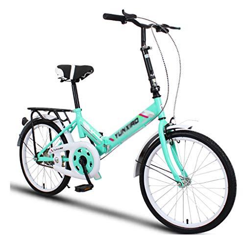 Elípticas Bicicleta Bicicleta Unisex Bicicleta Plegable Ruedas De 20 Pulgadas Ciudad Plegable V2 Bicicleta Plegable Compacta Aleación Ligera Ciudad Plegable (Color : Green, Size : 26-Inch)