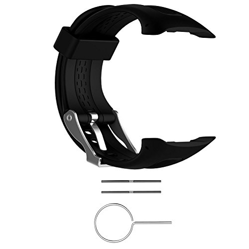 Replacement Band for Garmin Forerunner 10/15 for Women/Man - TenYun Silicone Wristband Strap/Bands for Garmin Forerunner 10/Garmin Forerunner 15(Black, Small-Size(0.81 X 0.77)