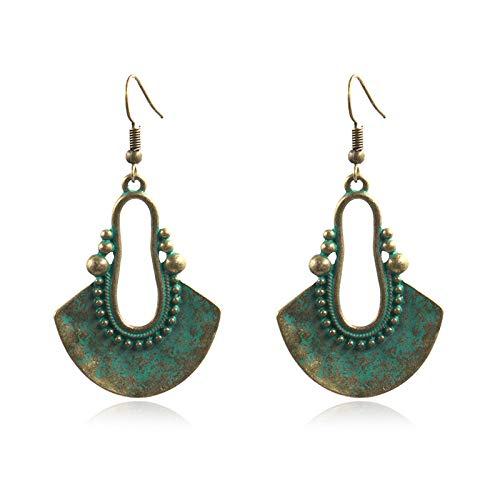 xingguang Pendientes de aleación gitana geométrica vintage para mujer, pendientes retro (color metal: estilo 2)