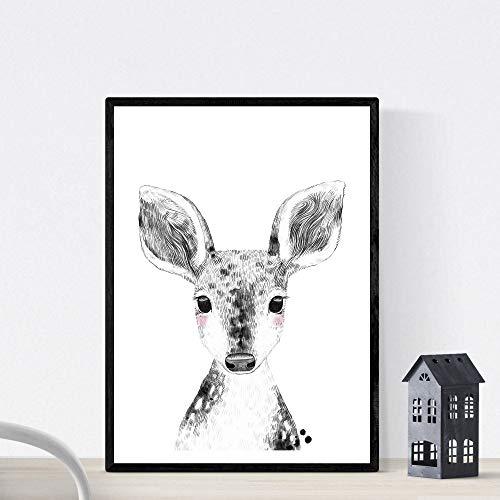 Herten baby laken zwart en wit baby, kleine dieren posterformaat A3 Frameloos