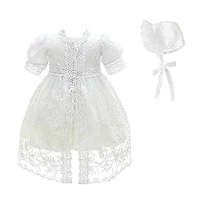 Glamulice Baby Girl Party Dress Christening Baptism Dresses Lace Princess Bow Formal Gown (3M/0-6M, White-3pcs)