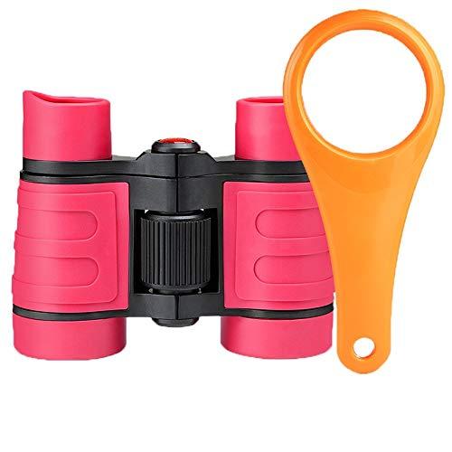 TOY Viajando para ver el telescopio escénico, telescopio de principiantes binoculares 4X30 de mano para lindo para ver actividades al aire libre Juguete colorido/Rosa roja / 3#