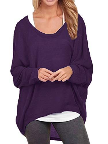 ZANZEA Damen Lose Asymmetrisch Jumper Sweatshirt Pullover Bluse Oberteile Oversize Tops Lila EU 50/Etikettgröße 3XL