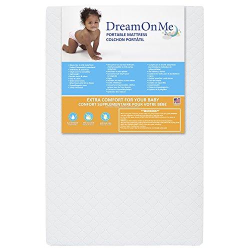 "Dream On Me, Holly 3"" Fiber Portable Crib Mattress I Waterproof I Green Guard Gold Certified I 10 Years Manufacture Warranty I Vinyl Cover I Made In The U.S.A I Mini Crib Mattress"