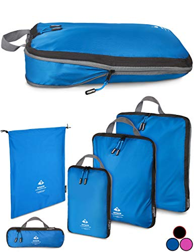 Outdoor Panda Packtasche mit Kompression - ultraleichter Packwürfel für Rucksack und Koffer - wasserabweisender Compression Packing Cubes als Gepäck Organizer und Kleidertasche (Blau, 1 x XL)