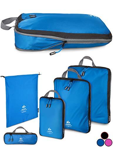 Outdoor Panda Packtasche mit Kompression - ultraleichter Packwürfel für Rucksack und Koffer - wasserabweisender Compression Packing Cubes als Gepäck Organizer und Kleidertasche (Blau, 1 x L)