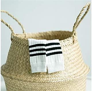 Lovely Socks Children Cotton Socks Kids Spring Stripe Pattern Athletic Mid Tube Socks(Black) Newborn Sock (Color : White, Size : S)