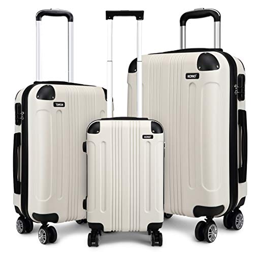 Kono Luggage Sets of 3 Piece Lightweight 4 Wheels Hard Sheel ABS Travel Trolley Suitcases (White)