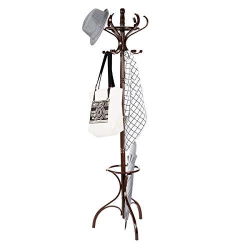 COSTWAY Garderobenständer Holz, Jackenständer mit 12 Haken, Kleiderständer mit Schirmständer, Garderobe Standgarderobe 182cm (braun)