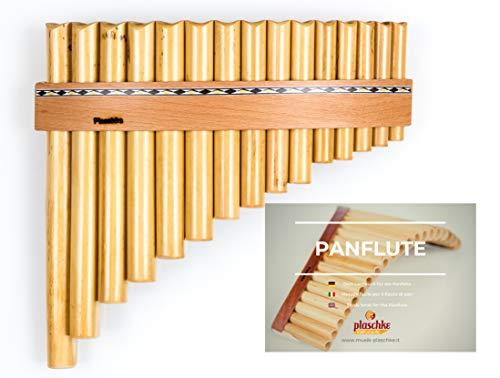 Panflöte aus Bambus, Indianische Flöte, rumänische Bauart mit 15 Tönen/Rohren in G-Dur + LEHRBUCH mit hochwertigen Holzriemen für Anfänger und Fortgeschrittene, handgemacht, handmade von Plaschke Instruments aus Südtirol/Italien