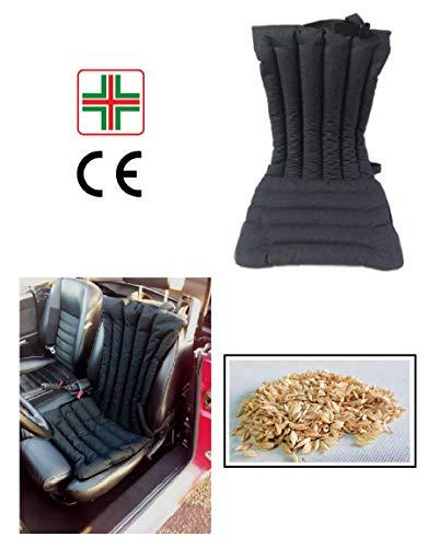 COPRISEDILE -Nero- Per Schienale Sedile Auto Macchina Camion in Pula di Farro con Effetto Massaggiante, Antisudore, Ideale Contro il Sudore, Effetto Rinfrescante per Sudorazione, Antistress