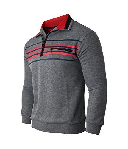 Humy Herren Langarm Gestreifte Sweatshirt, Poloshirt, Polohemd aus Baumwoll-Mix (M bis 3XL) (2XL, Grau)
