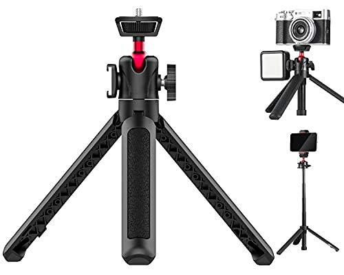HAFOKO Mini Smartphone Trípode de Escritorio Palo Extensible Selfie Stick con Soporte para Zapatos fríos Compatible para RX100 VII A6600 DSLR Camera Vlog(la Capacidad Carga es 2kg)