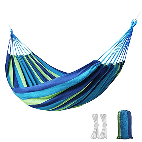 Double Outdoor Camping Hammock 260 x 150cm Canvas Breathable Swing with Sturdy Widened Fishtail Knot, Load 200kg for Travel, Beach, Backyard