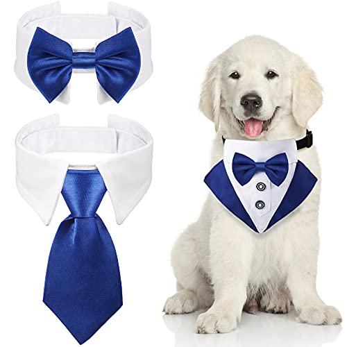 Set de 3 Bandanas de Esmoquin Formal de Boda de Perros Incluye Corbatas de Perros Collar Formal de Pajarita de Mascotas Collar de Esmoquin de Perro para Cachorros Gato Trajes de Boda (Azul)