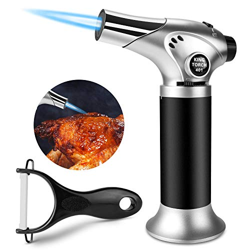 Gibot Culinary Torch Blow Torch Kitchen Refillable Butane Torch Lighter with Adjustable Flame and Safety Lock for Creme Brulee DessertsBBQ and BakingButane Gas Not Included