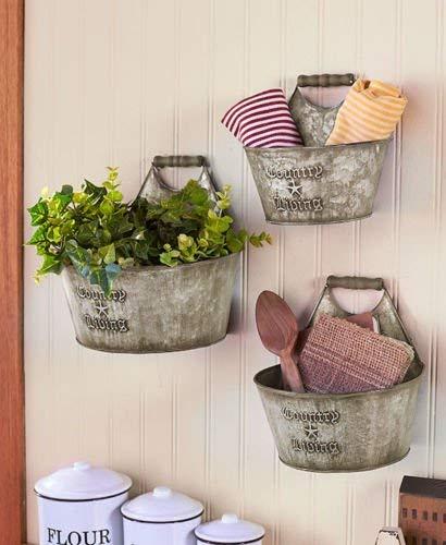 Phantomx Country Living Set of 3 Wall Buckets Rustic Primitive Kitchen Bathroom Storage