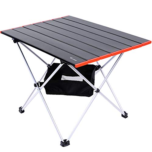 Portable Camping Table Sportneer Lightweight Folding Table with Aluminum Table Top and Carry Bag Prefect for Dining Cutting Cooking Picnic Outdoor Cooking Beach Hiking Fishing Red S