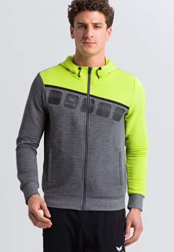 ERIMA Herren Jacke 5-C Trainingsjacke mit Kapuze, grau melange/lime pop/schwarz, XXL, 1031908