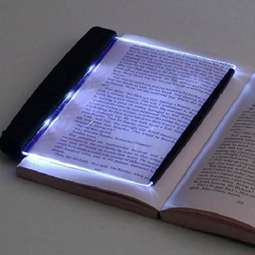 Zhuxuan Luz de cuña para Libro de Tapa Dura, luz de Libro LED para Leer en la Cama por la Noche, lámpara de Placa Plana LED portátil, luz de Lectura para Montaje en cabecera