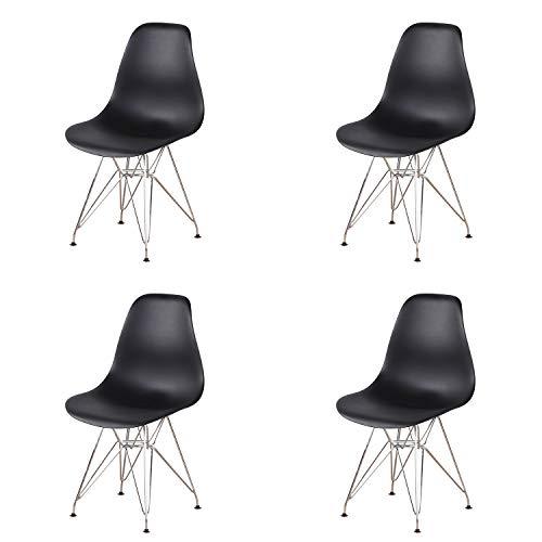 EDLMH - Juego de 4 sillas de comedor de diseño moderno con patas de metal cromado, diseño nórdico para sala de estar, oficina, estudio, dormitorio (4, negro)