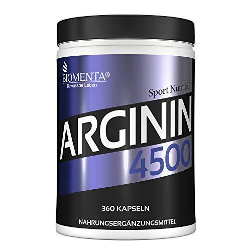 BIOMENTA L-ARGININ 4500 | AKTION!!! | 360 L-Arginin Kapseln HOCHDOSIERT